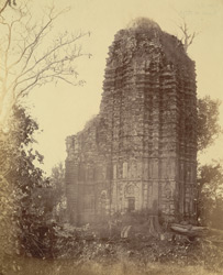 Side view of a large brick temple at Ranipur Jharia